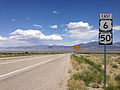 2014-08-09 13 31 38 View east along U.S. Routes 6 and 50 about 64.1 miles east of the Nye County line near Majors Place, Nevada.JPG