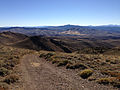 2014-10-03 15 43 53 View south along Poison Spring Road on the main ridgeline of the Diamond Mountains between Newark Summit and Diamond Peak, Nevada.JPG