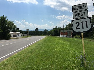U.S. Route 211 - View west along US 211 Bus just east of Luray