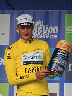 2016 Tour of Britain leader best British rider after stage 7 Steve Cummings.JPG