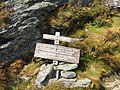 2017-09-11 13 34 18 Sign for the Long Trail northbound at the junction with the Profanity Trail just south of the Chin of Mount Mansfield within Mount Mansfield State Forest in Underhill, Chittenden County, Vermont.jpg