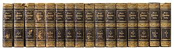 Les seize volumes de la quatrième édition (1885-1890) du Meyers Konversations-Lexikon. (définition réelle 4204×1189)