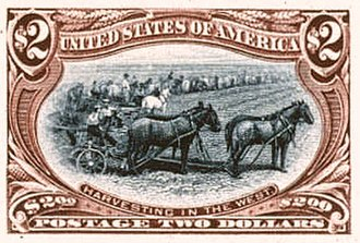 "Trans-Mississippi Issue - Bi-color essay for the $2 stamp (note: the Harvesting in the West vignette was ultimately reassigned to the 2¢ stamp and retitled ""Farming in the West"")."