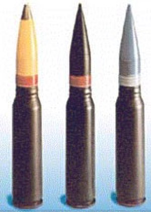 High-explosive incendiary - The shell on the left is a 30mm HEI.
