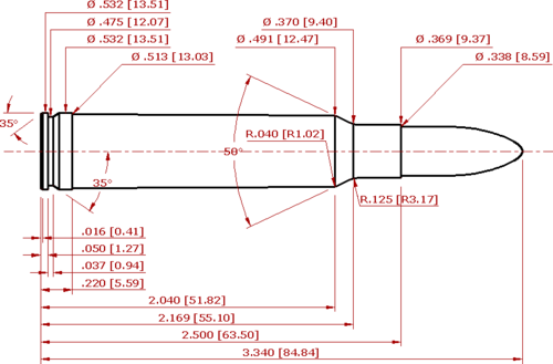 338 Winchester Magnum Cartridge Schematic