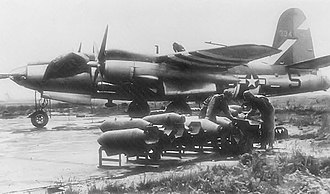 106th Rescue Wing - Loading bombs on Martin B-26G-1-MA Marauder, AAF Ser. No. 43-34194, of the 584th Bomb Squadron.