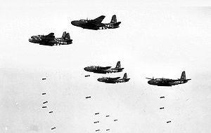 416th Air Expeditionary Wing - Flight of A-20 from the 416th Bomb Group making a bomb run