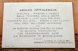 History of the Jews in Venice - Memorial tablet to Adolfo Ottolenghi