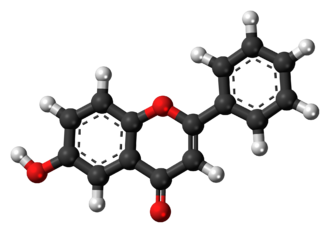 6-Hydroxyflavone - Image: 6 Hydroxyflavone molecule ball