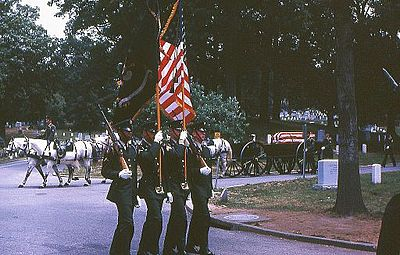 military funeral procession, Arlington National Cemetery, July, 1967