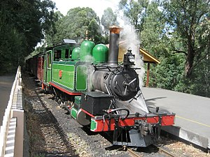Puffing Billy Railway - Puffing Billy train at Lakeside station