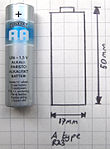 Vergleich A-Batterie (Zeichnung) mit AA