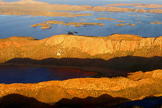 Lake Argyle - Aerial view of lake's west side with many islands