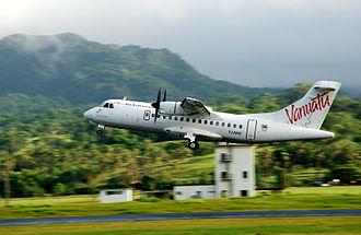 Air Vanuatu - Air Vanuatu ATR 42 aircraft (now retired) at Bauerfield International Airport, Port Vila.