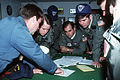 A Navy petty officer gives a weather briefing to pilots and navigators of the 63rd Air Wing in preparation for an airdrop mission to McMurdo Station, Antarctica F-3282-SPT-92-001550-XX-2738.jpg