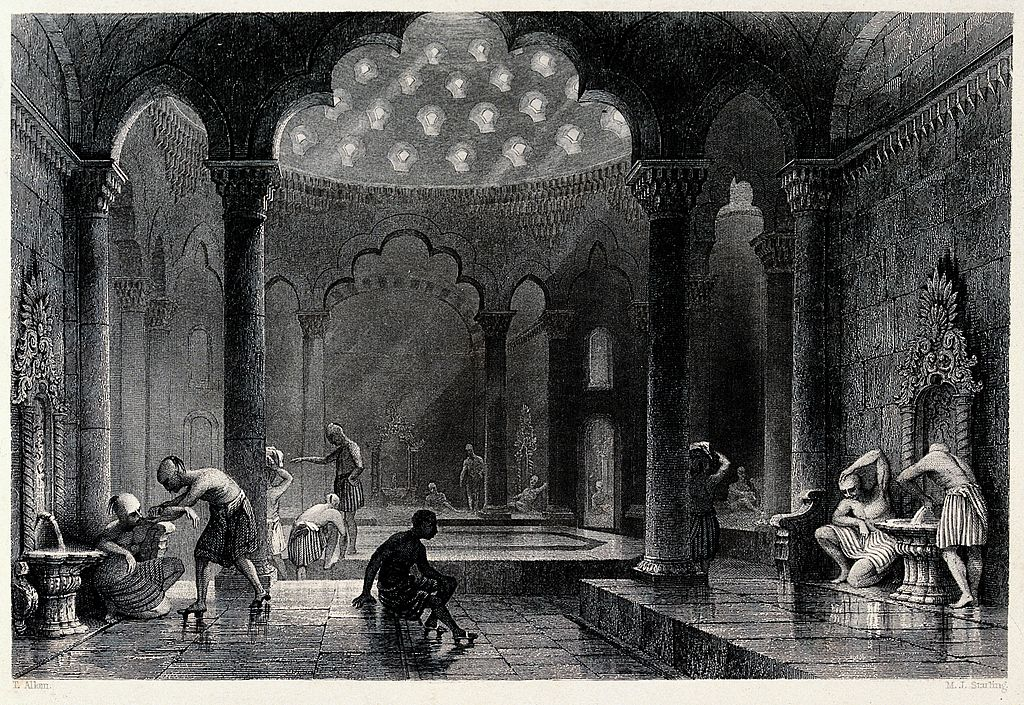 A Turkish bath. Engraving by M.J. Starling after T. Allom. Wellcome V0020027