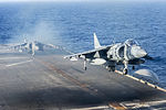 A U.S. Marine Corps AV-8B Harrier aircraft takes off from the flight deck of the amphibious assault ship USS Bonhomme Richard (LHD 6) June 21, 2013, while underway in the East China Sea 130621-N-KE519-105.jpg