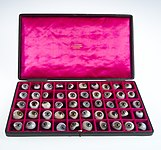 A case filled with a selection of 50 glass eye Wellcome L0036574.jpg