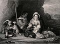 A soldier's family rest in a small cove, his wife amuses the Wellcome V0038727.jpg