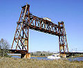 Abandoned truss railroad lift bridge over Cedar Bayou, south of Spur 55, Baytown, Texas (0228101501).jpg