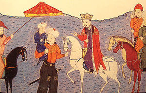 Arghun - An image representing Arghun (standing, holding his son Ghazan) under a royal umbrella. Beside him is his father Abaqa on a horse.