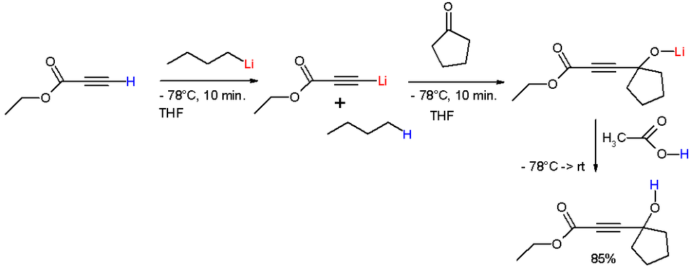 Reaction of ethyl propiolate with n-butyllithium to form the lithium acetylide.