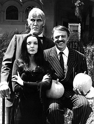 Halloween with the New Addams Family - Ted Cassidy, Carolyn Jones and John Astin in a publicity photo for the special