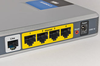 Router (computing) - A typical home or small office DSL router showing the telephone socket (left, white) to connect it to the internet using ADSL, and Ethernet jacks (right, yellow) to connect it to home computers and printers.