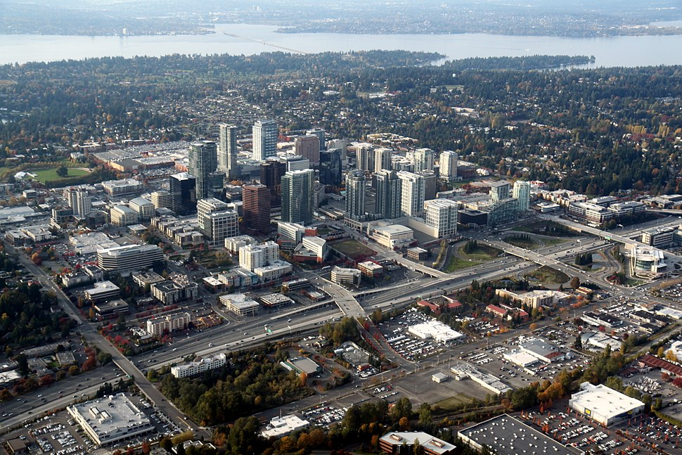 Downtown Bellevue seen in 2011 against the backdrop of Lake Washington