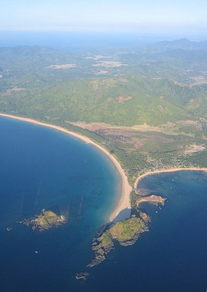 El Nido, Palawan - Aerial view of the cape between Nacpan and Calitang Beaches in Bucana, one of the eighteen barangays of El Nido.