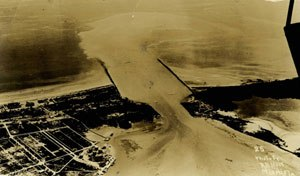 Government Cut - Aerial view of Government Cut, Miami Beach Florida, circa 1916.