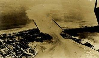 Government Cut - Aerial view of Government Cut, Miami Beach Florida, circa 1916.