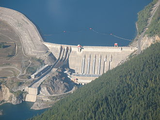 Electricity sector in Canada - BC Hydro's Revelstoke Dam (1984).