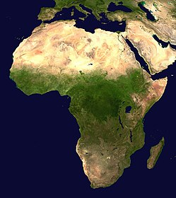 Satellite image of Africa, showing the ecological break that defines the sub-Saharan area