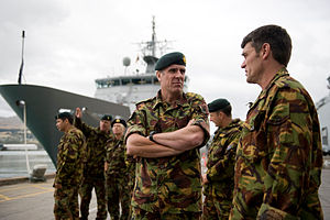 Air Vice Marshal Peter Stockwell and Chief of Army Tim Keating take an operational tour of Lyttelton.jpg