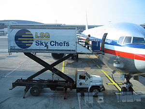 Food being delivered to American Airlines plane