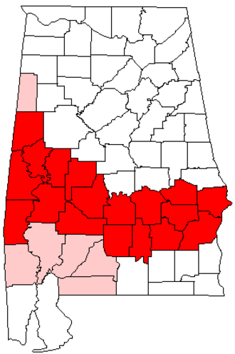 Black Belt (region of Alabama) - Map of Alabama's Black Belt region. Counties highlighted in red are historically considered part of the Black Belt region. Counties highlighted in pink are sometimes considered part of the region.