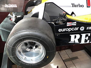 Racing slick - Tyre on Alain Prost's 1983 Renault Formula One racing car