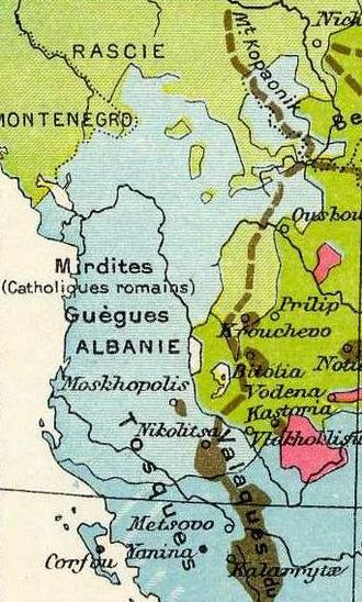 Albanians - Ethnographic map of Balkans (detail), Atlas Général Vidal-Lablache, Paris, 1898.