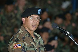 Albert Bryant Jr. - Bryant addresses soldiers of the 4th Infantry Division at a ceremony in Fort Hood, Texas in 2004.