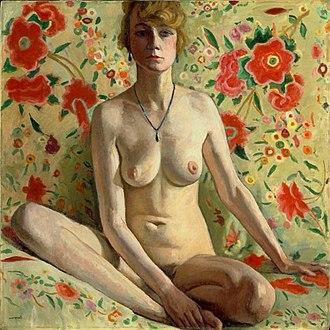 Albert Marquet - Albert Marquet, 1919, La femme blonde (Femme blonde sur un fond de châle espagnol), oil on canvas, 98.5 x 98.5 cm, Musée National d'Art Moderne, Centre Georges Pompidou, Paris