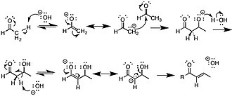 E1cB-elimination reaction - An aldol condensation reaction is one of the most common examples of an E1cB mechanism.