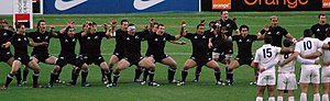 "Haka (sports) - The All Blacks perform ""Ka Mate"" led by Richie McCaw against France in November 2006."