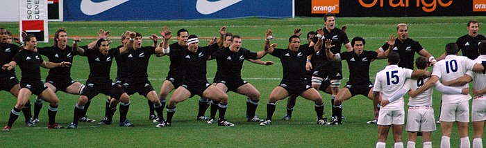 The New Zealand team performing Ka Mate, led by Richie McCaw, before a match against France in November 2006 All Blacks Haka.jpg