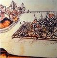 Alter Zürichkrieg - Schwyzer beschiessen von einem Floss aus erfolglos Rapperswil, Ammann Hans ab Yberg wird von einer Kugel getroffen, Chronik Werner Schodoler, 1514 - Stadtmuseum Rapperswil 2013-01-05 16-32-38 -ACD5-.JPG