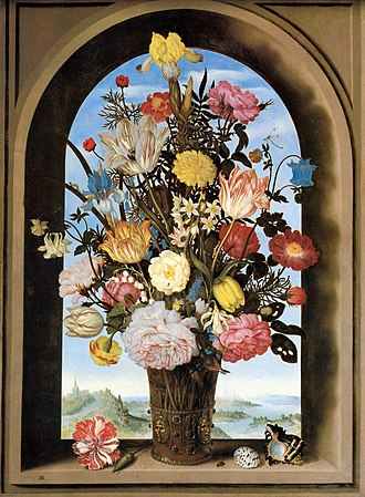 Flower bouquet - Bouquet in an Arched Window, Ambrosius Bosschaert, circa 1618-1620.  The earliest formal flower arrangements in Europe were Dutch, as shown in many paintings of the 17th century.