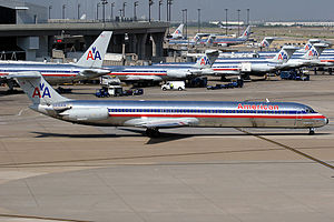 Dallas/Fort Worth International Airport - Numerous American Airlines aircraft at the airport in 2005