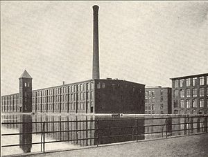 English: View of Fall River Iron Works mills N...