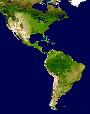 History of the Americas - A true-color image of the Americas. Much of the information in the image come from a single remote-sensing modevice—NASA's Moderate Resolution Imaging Spectroradiometer, or MODIS, flying over 700 km above the Earth on board the Terra satellite in 2001.