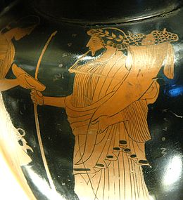 """Hades, labelled as """"Plouton"""", """"The Rich One"""", bears a cornucopia on an Attic red-figure amphora, ca 470 BC."""